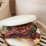 Pork belly steamed bun, sriracha, Thai basil and mint / Spice Market (Taste of London 2013)