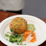 Smoked haddock cake with shrimp and coriander mayonnaise / The Cinnamon Club (Taste of London 2013)
