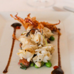 Barbecued squid with Thai basil and fresh peanuts / Annisa (New York, 2014)